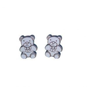 Teddy bear laser cut wooden earrings