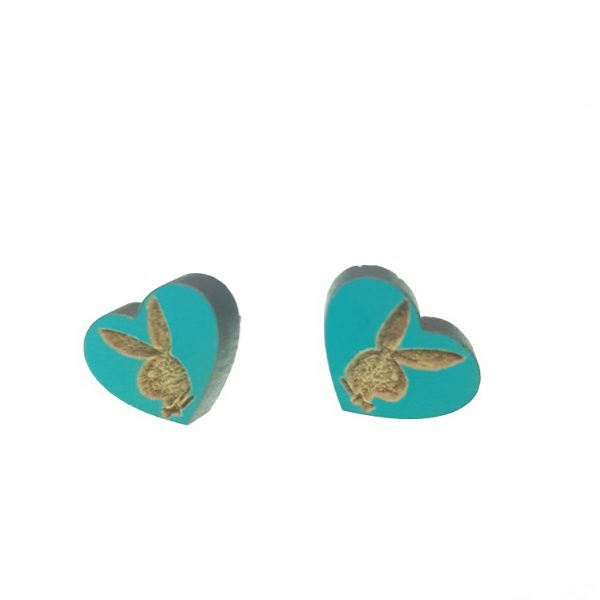 Wooden heart earrings with engraved Playboy bunny theme