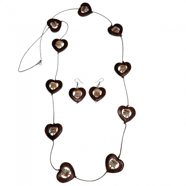Wooden hearts string necklace with Seashell discs and earring set