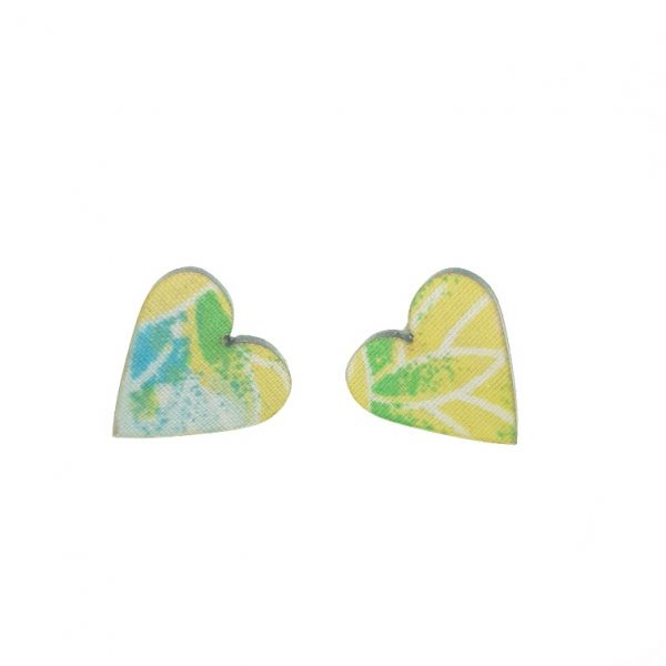 Yellow, green, blue and white laser cut wooden earrings