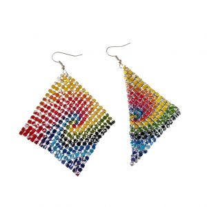 Yellow, red, green and blue square-shaped earrings