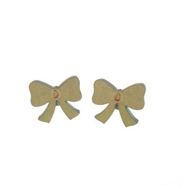 hair bow engraved laser cut wooden earrings