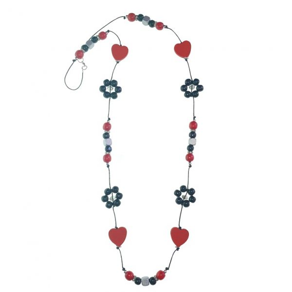 Red, black and silver string necklace with red hearts, wooden flower beads with chinese crystal beads and wooden beads necklace