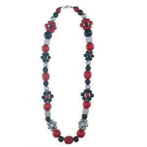 Red, black and silver wooden beads necklace with red hearts, wooden flower beads with chinese crystal beads