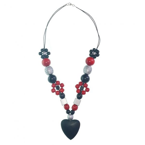 Red, black and silver wooden beads necklace with , wooden flower beads with chinese crystal beads with a black wooden hearts