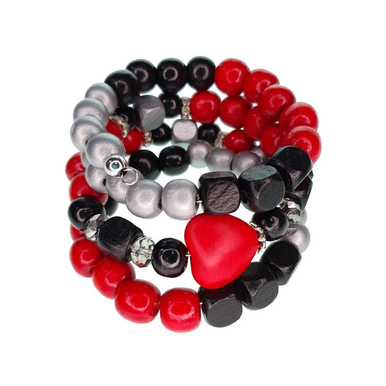 Wooden beads memory wire bracelet