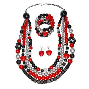 Wooden beads necklace, bracelet and earrings jewellery set