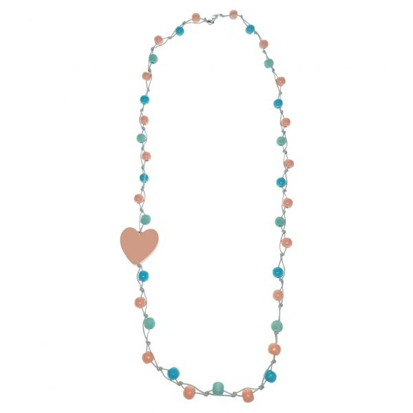 Long Peach, blue and orange beaded wooden beads necklace