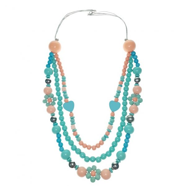 Three-layer blue hearts, flower-shaped beads necklace