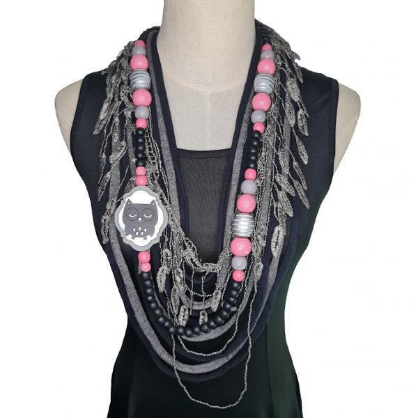 Black, silver, pink and grey Tshirt scarf with an owl pendant and lace