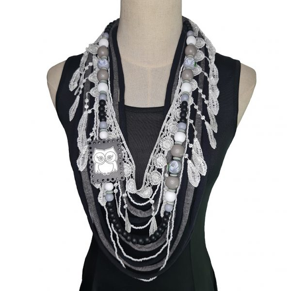 Black, silver, white and grey Tshirt scarf with an owl pendant and lace