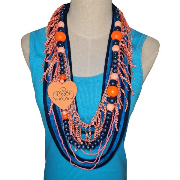 Blue, Orange and peach Tshirt scarf with a heart pendant and lace