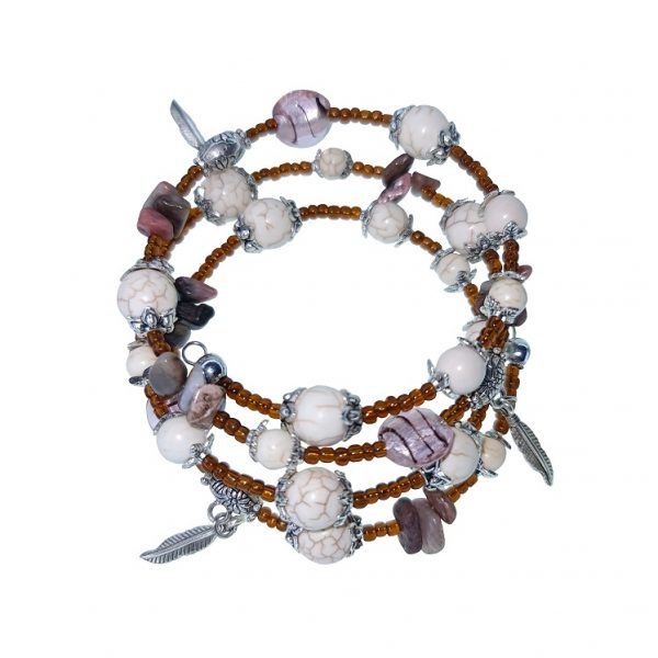 Cream, brown and grey stone, seashell and sea beads memory wire bracelet with leaves and glass beads