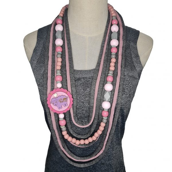 Pink and grey Tshirt scarf with a sheep pendant