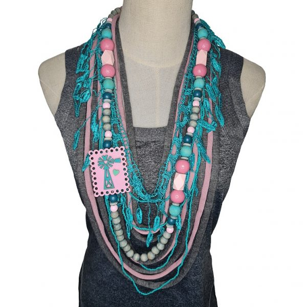 Pink, green, and grey Tshirt scarf with a windmill pendant and lace