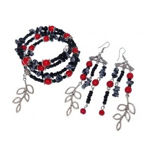 Red, black and grey stone, seashell and sea beads memory wire bracelet with leaf and matching 3 layer gypsy earrings