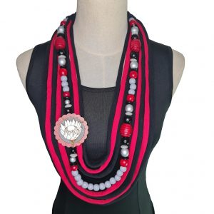 Red, black, silver and grey Tshirt scarf with a protea pendant