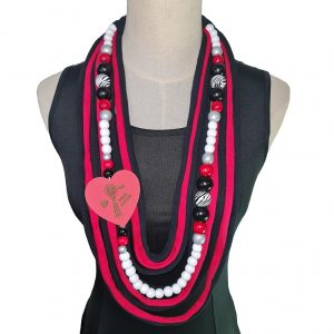 Red, black, silver and white Tshirt scarf with a windmill heart pendant