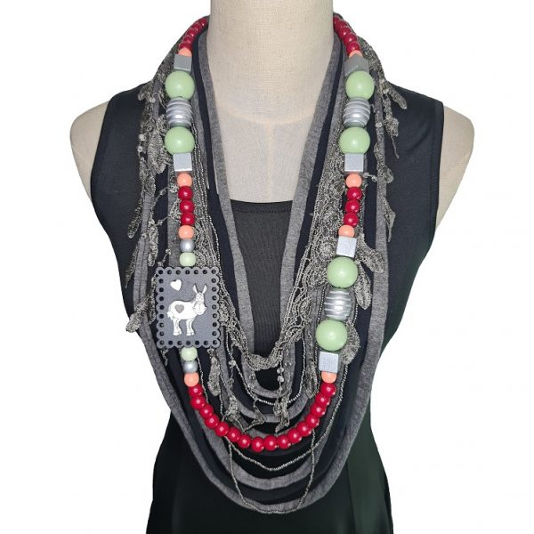Red, silver, grey, mint and peach Tshirt scarf with a donkey pendant and lace