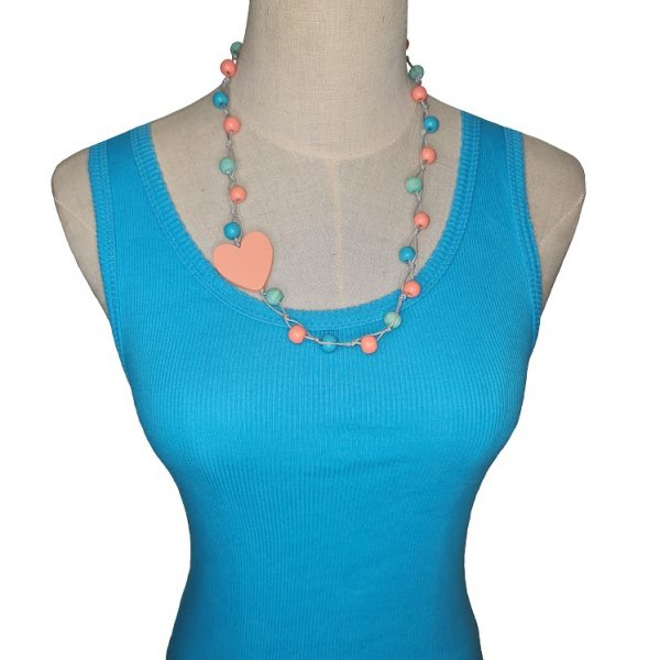 Short Peach, blue and orange beaded wooden beads necklace